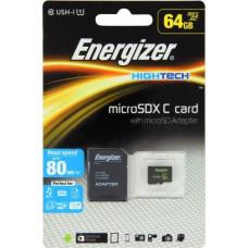 Energizer SDXC 64GB High Tech micro paměťová karta UHS-I (U1) (80MB/s), Class 10 + adapter, černá