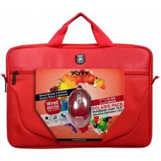 PORT DESIGNS POLARIS BUNDLE Toploading brašna na 15,6'' notebook + USB MOUSE, červená