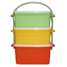 DK PLAST jídlonosič 2x1,2l + 1x1,4l hranatý 17x15x20cm PH mix barev