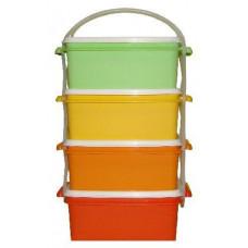 DK PLAST jídlonosič 4x1,2l hranatý 17x15x25cm PH mix barev