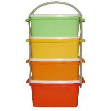 DK PLAST jídlonosič 3x1,2l + 1x1,4l hranatý 17x15x26cm PH mix barev