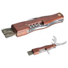 nůž na houby zavírací se štětečkem + otvíráky, dřev.rukojeť