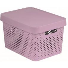 CURVER box úložný INFINITY děrovaný 36,3x27x22,2cm s víkem, PH RŮŽ