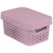 CURVER box úložný INFINITY děrovaný 26,8x18,6x12,4cm s víkem, PH RŮŽ