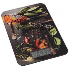 váha kuchyňská plochá 5kg digitální, tvrz.sklo, KOŘENÍ mix