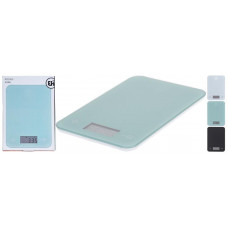 váha kuchyňská plochá 5kg digitální, tvrz.sklo, mix barev