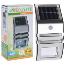 lampa solární 2x1LED 17x7,5x5cm na stěnu, s čidlem, nerez