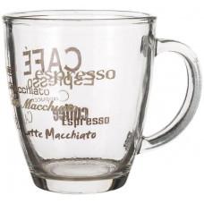 hrnek 360ml LUCCA skleněný, dekor káva I