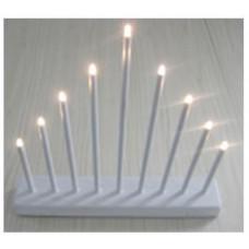 svícen vánoční  9 svíček LED,teplá BÍ,kov.,26x31x5,5cm,2xtuž.AA baterie