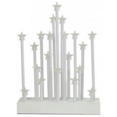 svícen vánoční el.20 svíček LED,teplá BÍ,hvězda,dřev.BÍ,22,3x29,5x5cm,do zásuvky