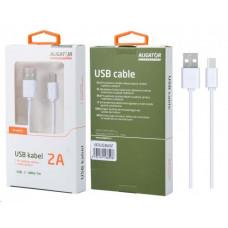Aligator datový a nabíjecí kabel USB-C s prodlouženým konektorem 9 mm, 2A, délka 1 m, bílá
