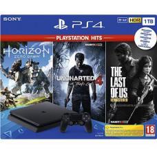 SONY PLAYSTATION PS4 - PlayStation 4 černý 1TB - F Chasiss (slim) + GTS+U4+HZD