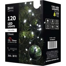 EMOS Vánoční řetěz 120 LED, 12m, studená bílá + časovač