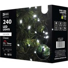 EMOS Vánoční řetěz 240 LED - 24m, stud.bílá+časovač