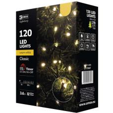 EMOS Vánoční řetěz 120 LED, 12m, teplá bílá + časovač