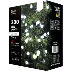 EMOS Vánoční řetěz 200LED-kuličky,20m,stud.bílá+časovač