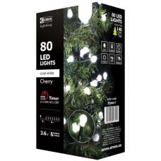 EMOS Vánoční řetěz 80 LED-kuličky,8m,stud.bílá+časovač