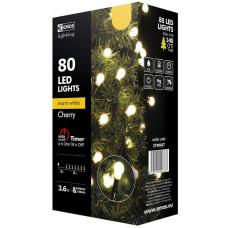 EMOS Vánoční řetěz 80LED-kuličky,8m,teplá bílá+časovač