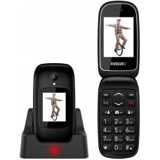 EVOLVEO EasyPhone FD, mobilní telefon pro seniory s nabíjecím stojánkem (černá barva)
