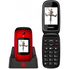 EVOLVEO EasyPhone FD, mobilní telefon pro seniory s nabíjecím stojánkem (červená barva)