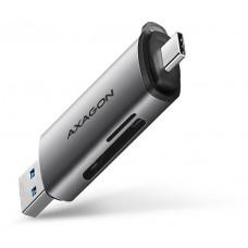 Axago  CRE-SAC, USB3.2 Gen 1 Type-C + Type-A externí čtečka karet SD/microSD, podpora UHS-I