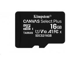 KINGSTON 16GB microSDHC Kingston Canvas Select Plus  A1 CL10 100MB/s bez adapteru