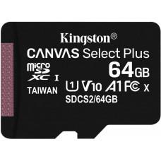 KINGSTON 64GB microSDXC Kingston Canvas Select Plus  A1 CL10 100MB/s bez adapteru