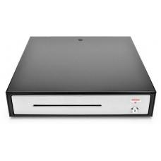 VIRTUOS Pokladní zásuvka C430C - s kabelem, kovové držáky, nerez panel, 9-24V,černá