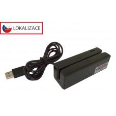 VIRTUOS Třístopá čtečka magnetických karet MSR-100, USB (emulace klávesnice), černá