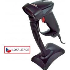VIRTUOS Laserová čtečka Virtuos HT-900A, USB (klávesnice/RS-232 emulace), stojánek, černá