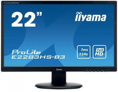 "IIYAMA 22""LCD iiyama E2283HS-B3 - 1ms, 250cd/m2, FullHD, 1000:1 (12M:1 ACR), VGA, HDMI, DP, repro (E2283HS-B3)"
