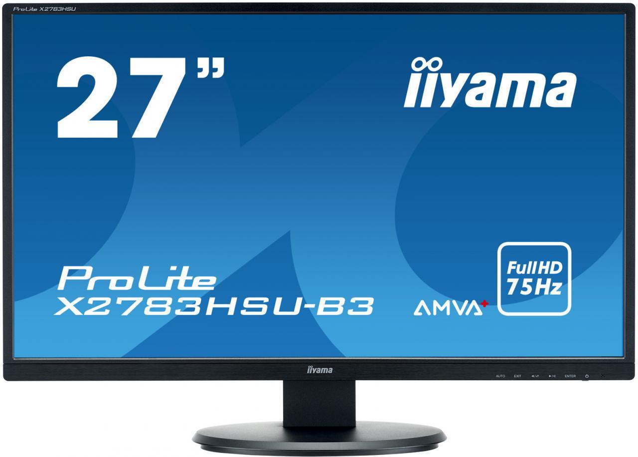 """IIYAMA 27"""" LCD iiyama X2783HSU-B3 - AMVA+, 4ms, 300cd/m2, 3000:1, FullHD, VGA, DP, HDMI, USB, repro (X2783HSU-B3)"""