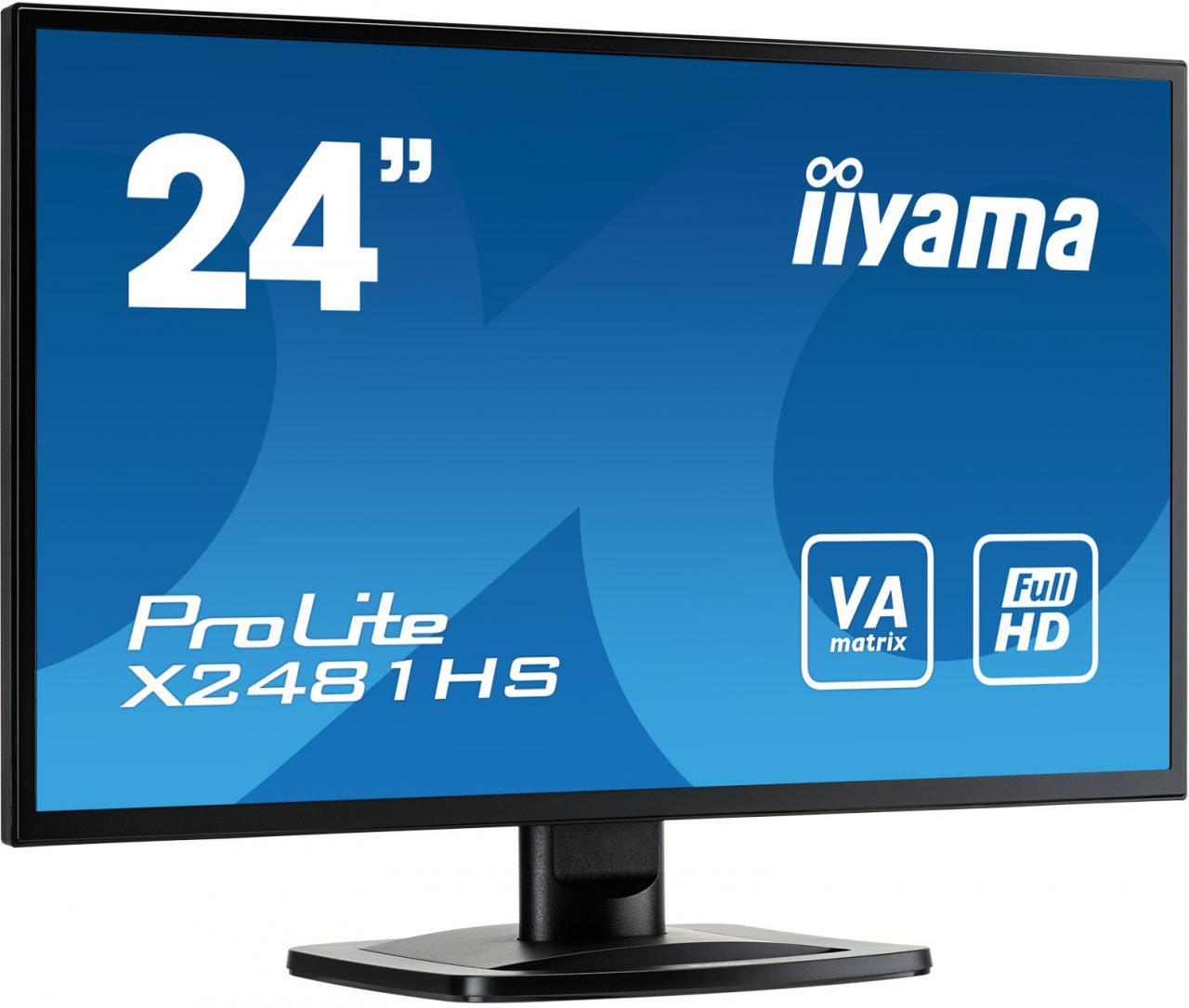 """IIYAMA 24"""" LCD iiyama X2481HS-B1 - VA, 6ms, 250cd/m2, 3000:1 (12M:1 ACR), VGA, DVI, HDMI, repro (X2481HS-B1)"""