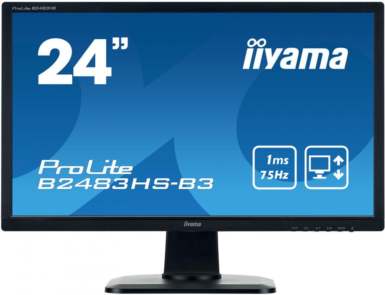 "IIYAMA 24""LCD iiyama B2483HS-B3 - TN,FullHD,1ms,250cd/m2, HDMI,DP,VGA,repro,pivot,výškov.nastav. (B2483HS-B3)"