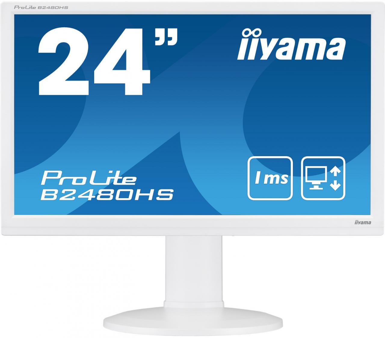 "IIYAMA 24"" iiyama B2480HS-W2: TN, FullHD, 250cd/m2, 1ms, VGA, DVI, HDMI, height, pivot, bílý (B2480HS-W2)"