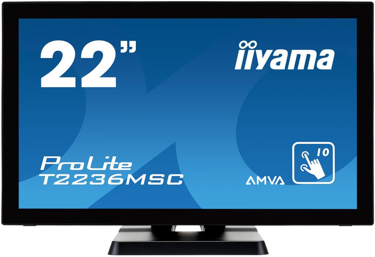 "IIYAMA 22"" LCD iiyama T2236MSC-B2 - multidotekový, FullHD, AMVA, kapacitní, USB (T2236MSC-B2)"