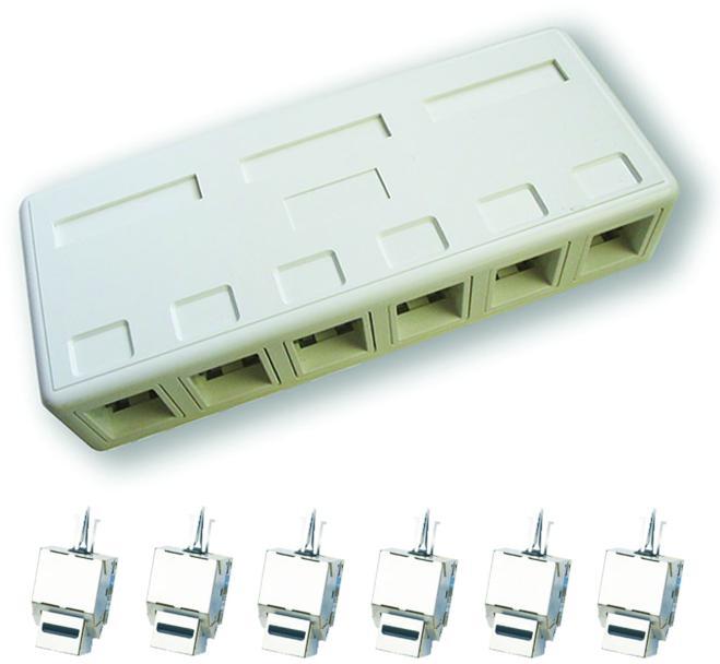 DATACOM zásuvka STP CAT5E 6xRJ45 na omítku bílá (2206)
