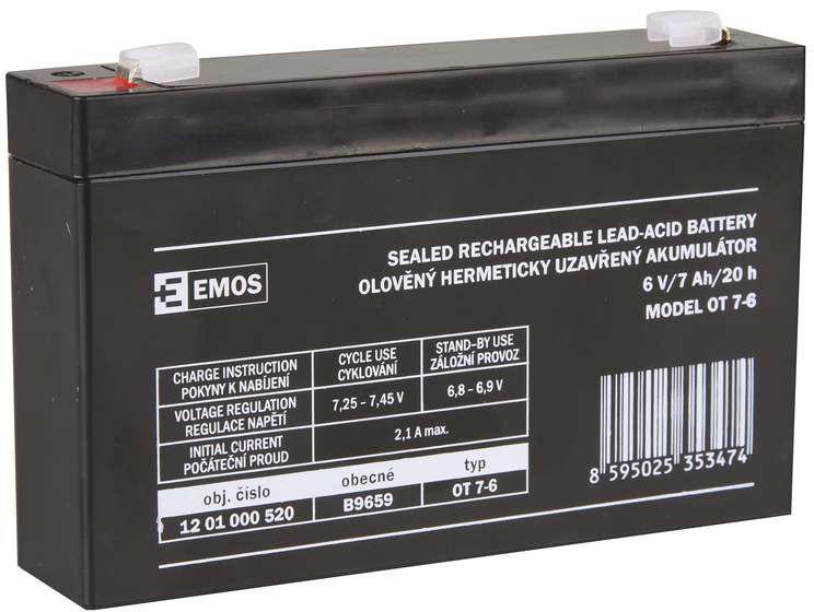EMOS AKUMULÁTOR SLA 6V/7Ah FA-4,7mm (1201000520)