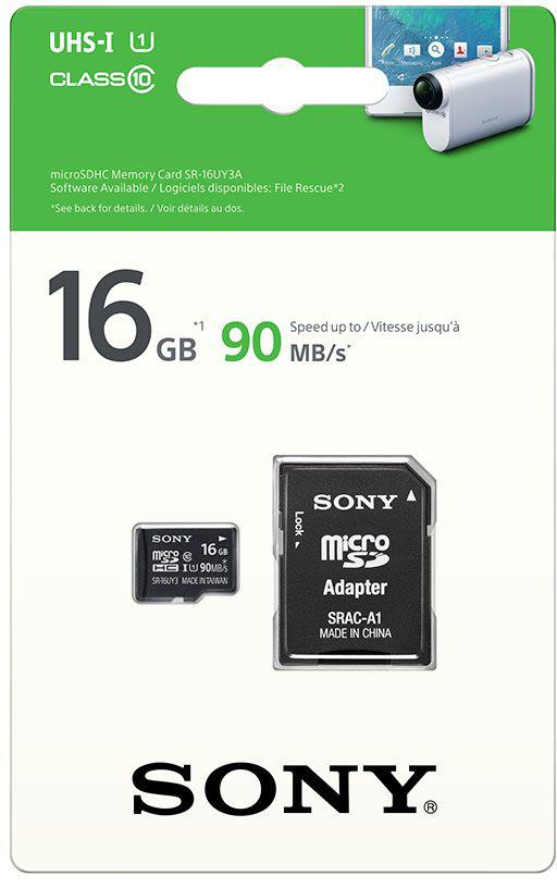 Fotografie SONY microSD karta 16GB, class10, 90MB/s, adapter (SR16UYA)