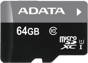 Fotografie ADATA Premier micro SDXC karta 64GB UHS-I Class 10 + adaptér