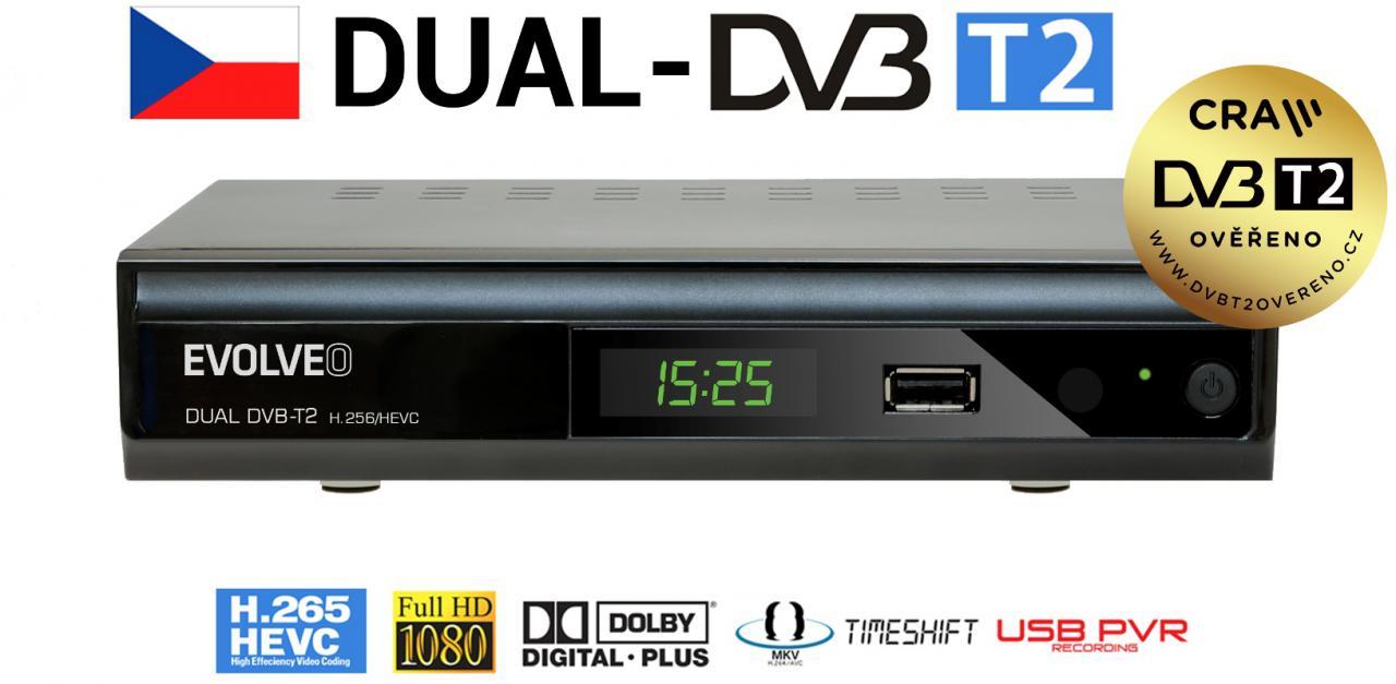 EVOLVEO Gamma T2, Dual HD DVB-T2 H.265/HEVC rekordér (DT-4060-T2-HEVC)