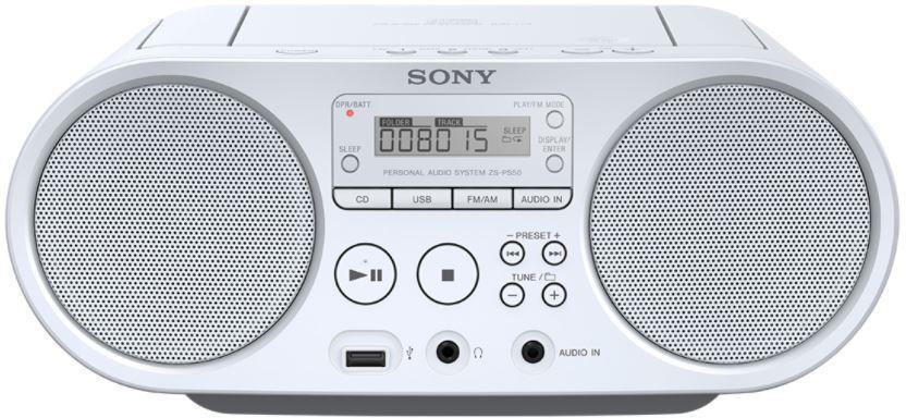 SONY mp3/CD/Radio přehrávač ZS-PS50CP,bílý (ZSPS50W.CET)