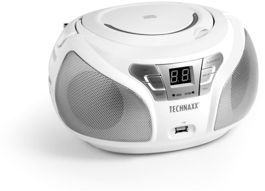 TECHNOSONIC Technaxx Boombox CD přehrávač, BT, FM, USB, bílý (4765)