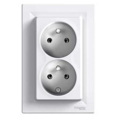 Schneider Electric Asfora - zásuvka 2násobná 2x(2P+PE), 16A - bílá (EPH9800121)