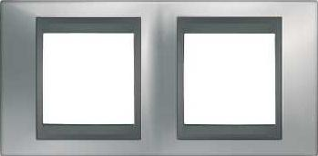 Schneider Electric Top rámeček 2-násobný Cromo mat/Grafit (MGU66004238)