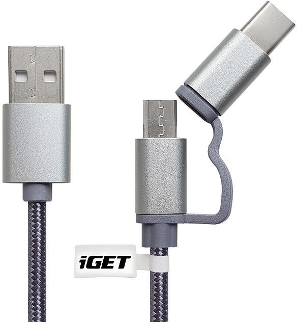 IGET G2V1 - USB kabel Micro USB/ USB - C dlouhý pro veškeré mobilní telefony, včetně odolných (G2V1)