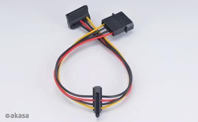 AKASA - 4-pin molex na 2x 15-pin Sata adaptér (AK-CBPW01-30)