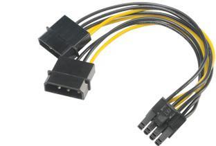 AKASA - 4-pin Molex na 6+2-pin PCIe adaptér (AK-CBPW20-15)