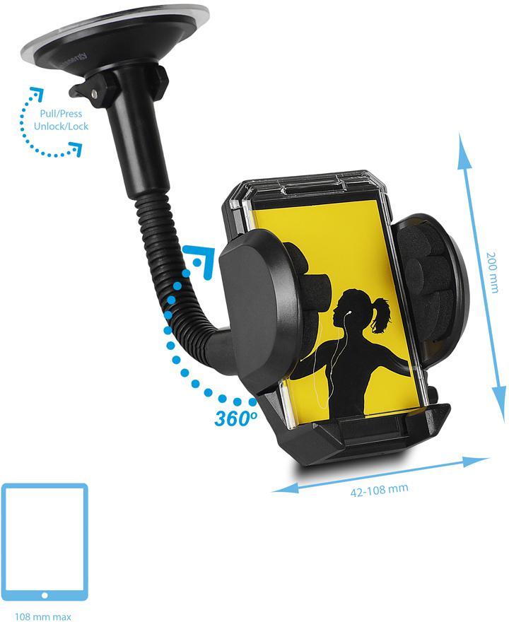 Fotografie Whitenergy Univerzální držák GSM/PDA/GPS do auta, sklo