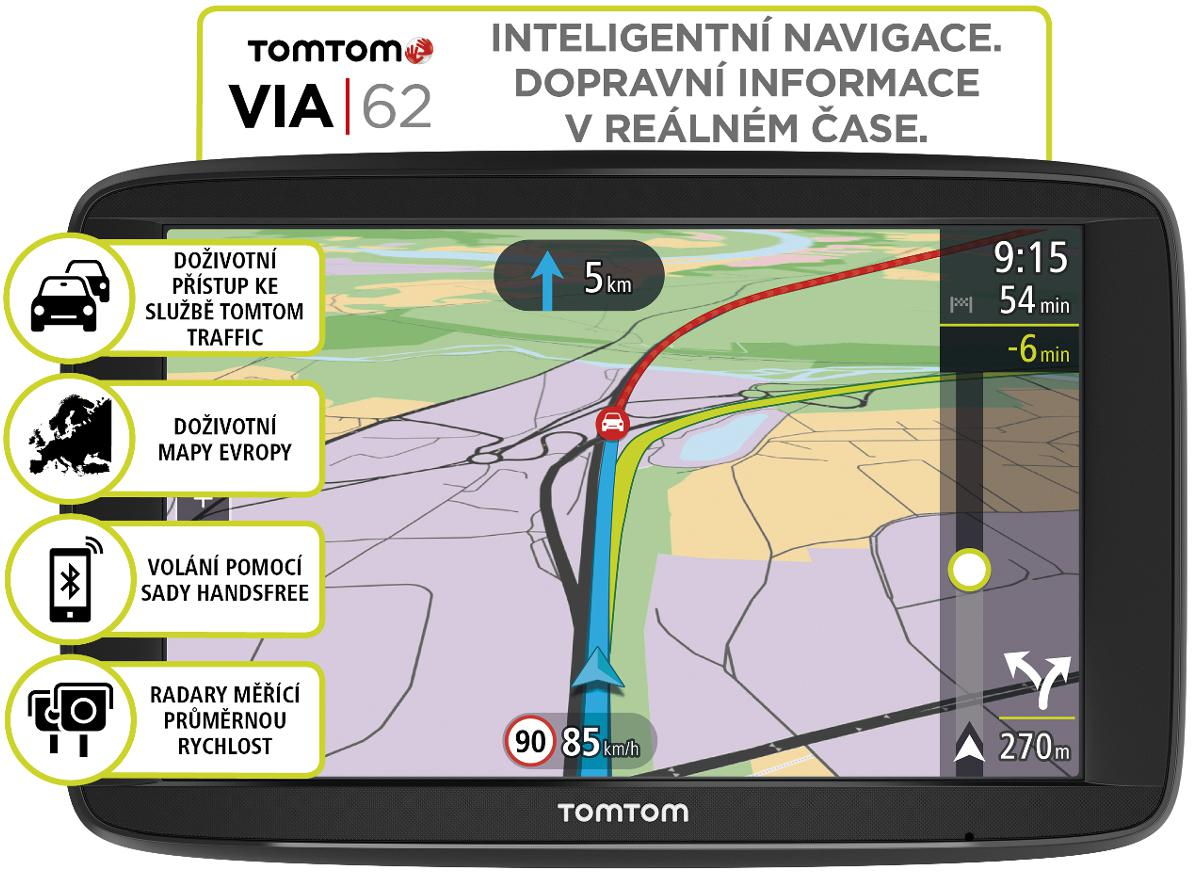 Fotografie TOMTOM VIA 62 Europe, LIFETIME mapy (1AP6.002.00)